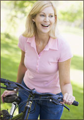 Smiling Woman With Bicycle